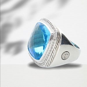 DY Sterling Silver Ring with Blue Topaz & Diamonds